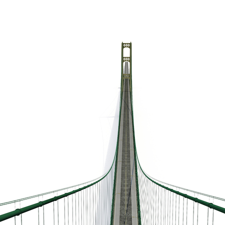 Mackinac Bridge Isolated on white background. 3D illustration Stock Photo