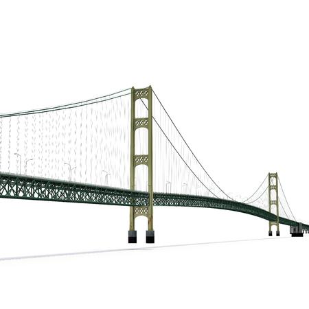 マキナック橋分離白。3 D イラストレーション