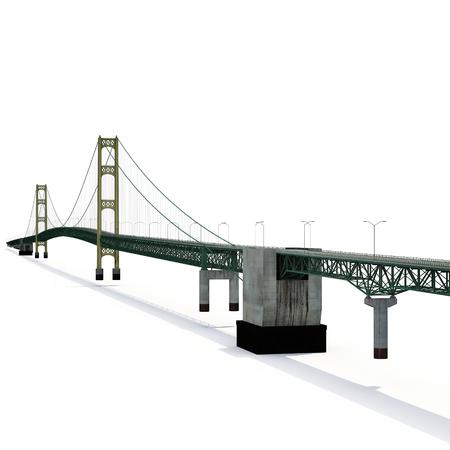 american midwest: Mackinac Bridge Isolated on white. 3D illustration