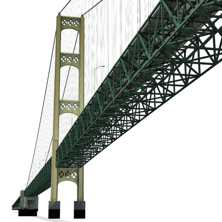 midwest: Mackinac Bridge Isolated on white background. 3D illustration Stock Photo