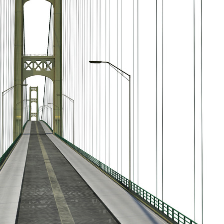 american midwest: Mackinac Bridge Isolated on white background. 3D illustration Stock Photo