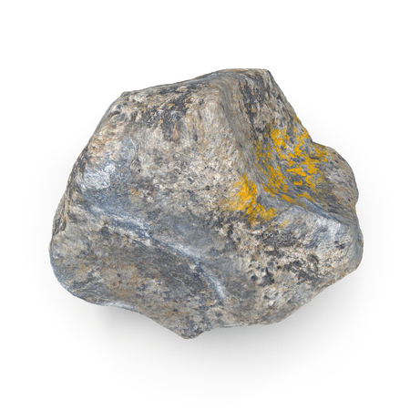 granite: Rock stone isolated on white. 3D illustration, clipping path