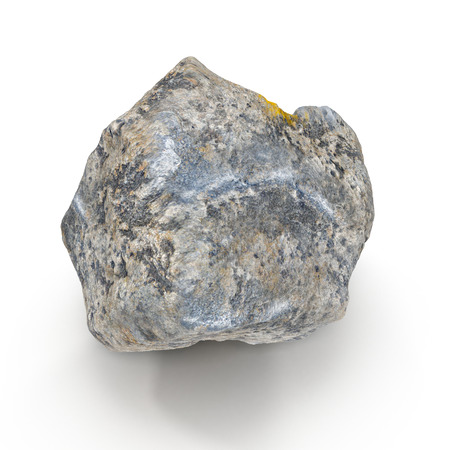 Rock stone isolated on white. 3D illustration, clipping path