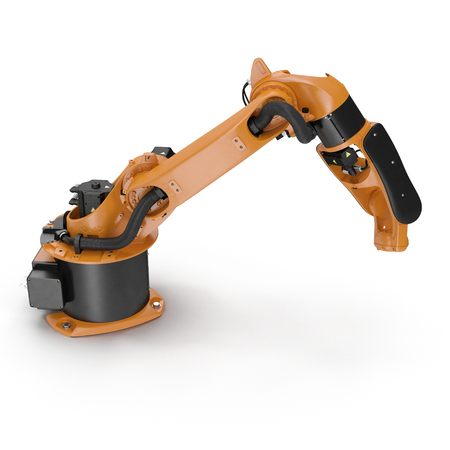 machining: Orange robot arm for industry isolated on white. 3D Illustration, clipping path