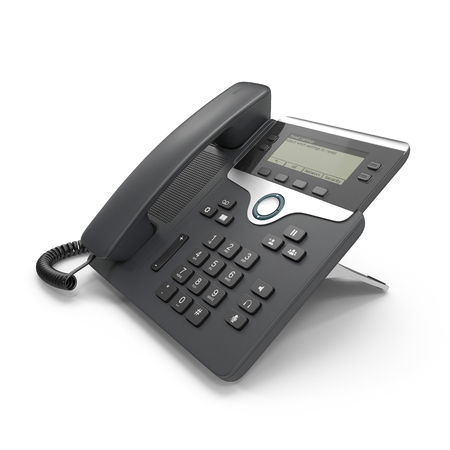 VOIP phone IP phone isolated on a white. 3D illustration, clipping path Zdjęcie Seryjne