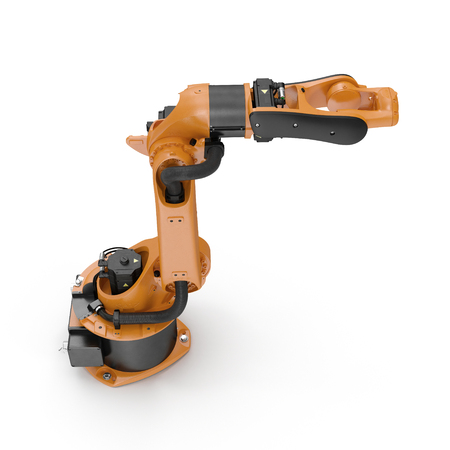robotic hand machine tool isolated on white. 3D illustration, clipping path Stock Photo