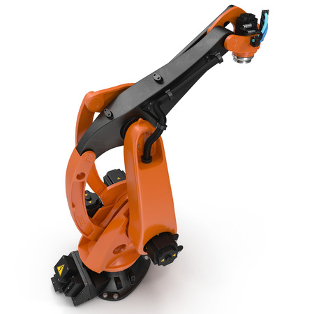 automate: robotic hand machine tool isolated on white. 3D illustration, clipping path Stock Photo
