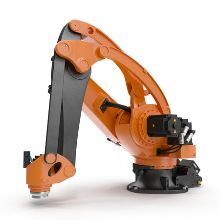 machining: robotic hand machine tool isolated on white. 3D illustration, clipping path Stock Photo