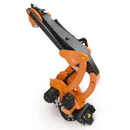 automate: Industrial Robotic Arm isolated on white. 3D illustration, clipping path Stock Photo