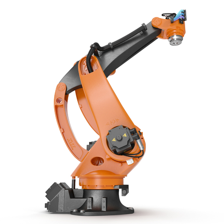 Industrial Robotic Arm isolated on white. 3D illustration, clipping path Stock Photo