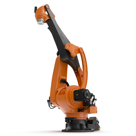 automate: Orange robot arm for industry isolated on white. 3D Illustration, clipping path