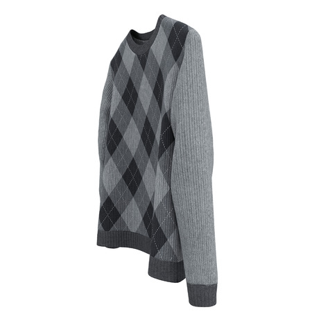 Checkered Sweater on white background. 3D illustration, Clipping Path Stock Photo