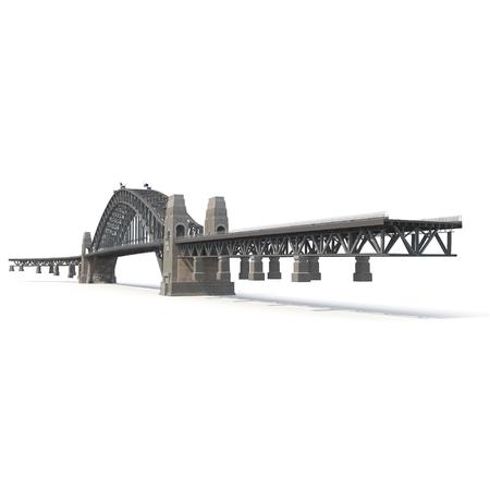 sydney skyline: Sydney Harbour Bridge on white. 3D illustration