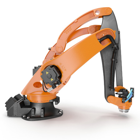machining: robotic hand machine tool isolated on white background. 3D illustration, clipping path
