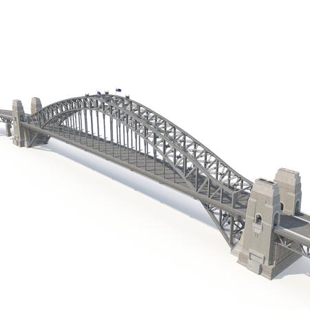 sydney skyline: Sydney Harbour Bridge on white background. 3D illustration