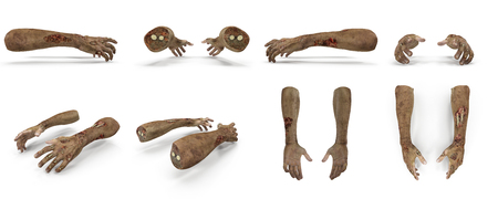 cruel: Scary zombie hands renders set from different angles on a white background. 3D illustration