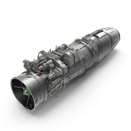 Jet engine on white. 3D illustration, clipping path