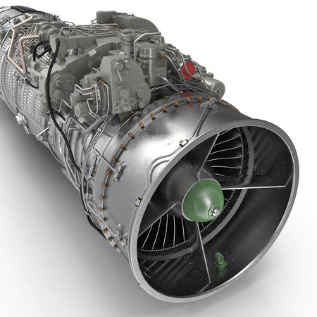 jet turbofan engine on white. 3D illustration, clipping path