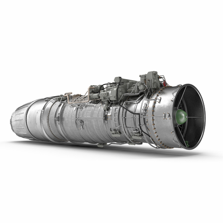 turbofan aircraft engine on white. 3D illustration, clipping path