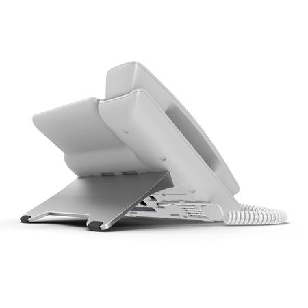 cable telefono: Teléfono moderno de la oficina usando la tecnología de VoIP en un blanco. Ilustración 3D, trazado de recorte