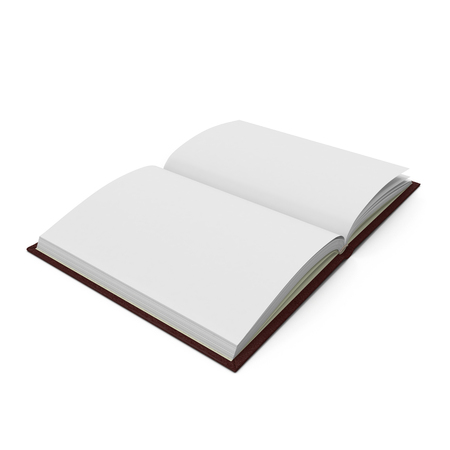 Vintage blank open notebook isolated on white. 3D illustration Zdjęcie Seryjne - 82693383