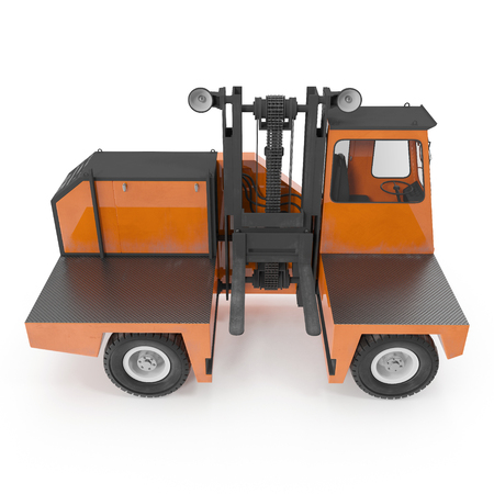 moving truck: Side Loading Orange Forklift Truck isolated on white. Side view. 3D Illustration