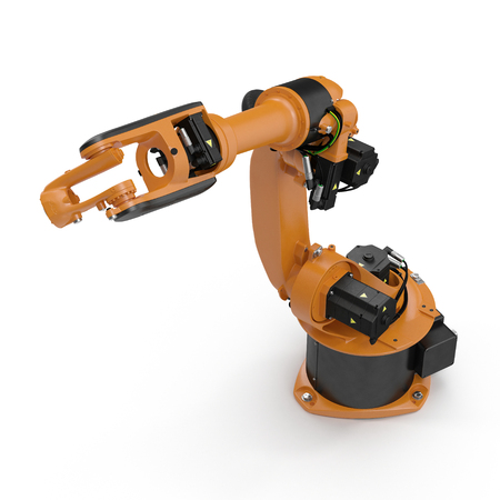 machining: Robot arm for industry isolated on white. 3D Illustration, clipping path