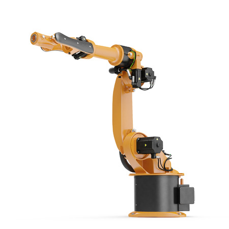 automate: Robot arm for industry isolated on white. 3D Illustration, clipping path