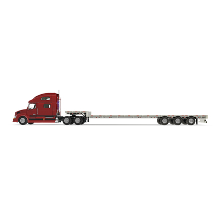 Truck with Double Drop Trailer on white. Side view. 3D illustration, clipping path