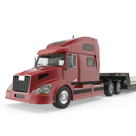 low tire: Truck with Double Drop Trailer on white. 3D illustration, clipping path