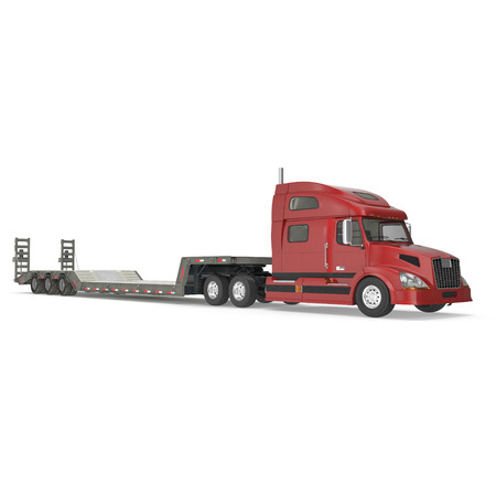axle: Truck with Double Drop Trailer on white. 3D illustration, clipping path