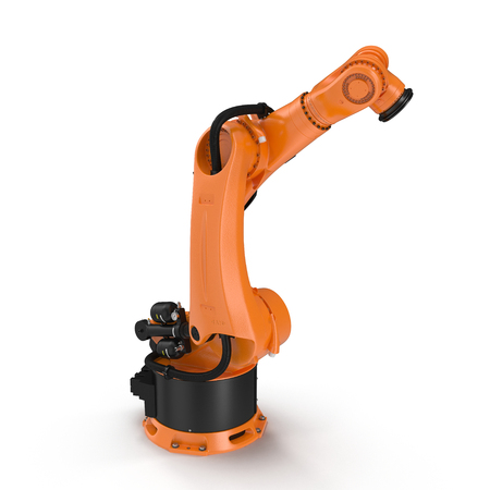 machining: Industrial Robotic Arm isolated on white. 3D illustration, clipping path Stock Photo