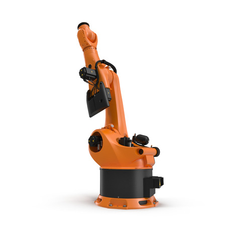automate: robotic hand machine tool isolated on white background. 3D illustration, clipping path