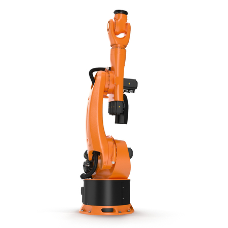 automate: Robot arm for industry isolated on white background. 3D Illustration, clipping path