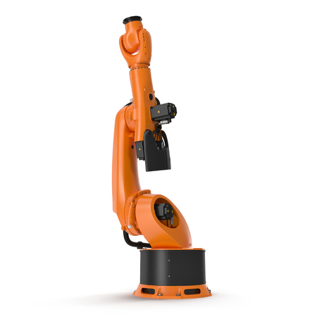 robotic hand machine tool isolated on white background. 3D illustration, clipping path
