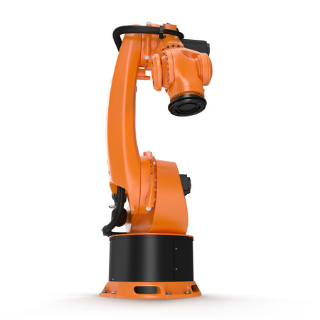 Orange robot arm for industry isolated on white background. 3D Illustration, clipping path
