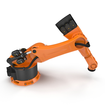 machining: Orange robot arm for industry isolated on white background. 3D Illustration, clipping path