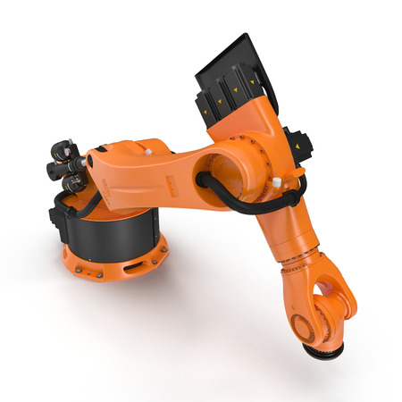 Orange robot arm for industry isolated on white. 3D Illustration, clipping path