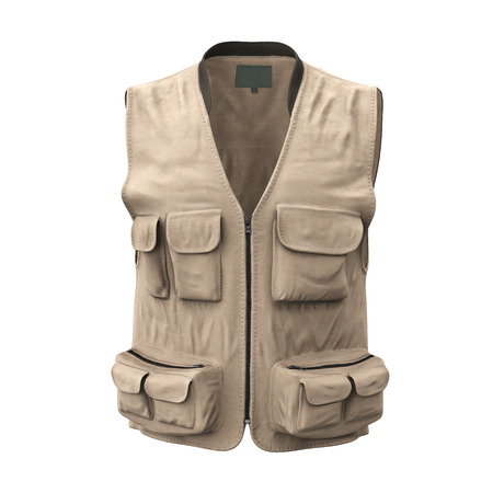 Fishing Vest on white isolated. 3D illustration Stok Fotoğraf