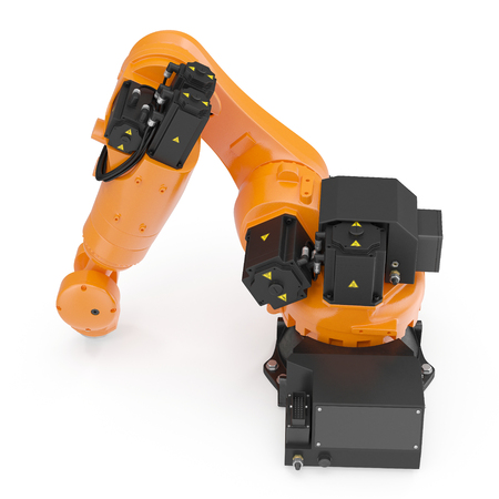 machining: Robot arm for industry isolated. 3D Illustration, clipping path Stock Photo