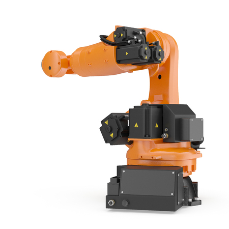 automate: Robot arm for industry isolated. 3D Illustration, clipping path Stock Photo