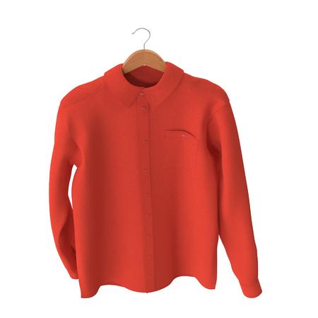 Red Shirt On Hanger on white. 3D illustration