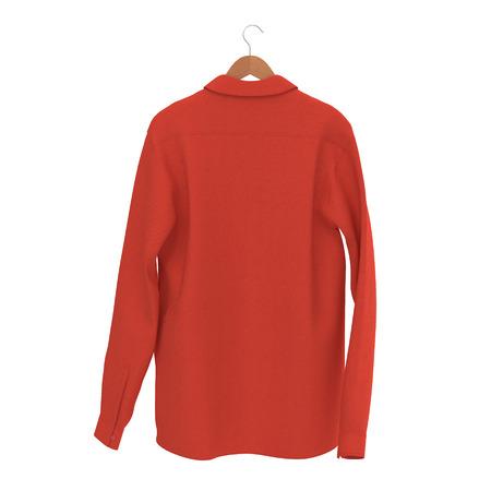 hangers: Red Shirt On Hanger on white. 3D illustration