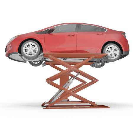 Automotive Scissor Lift and Car on white. 3D illustration, clipping path