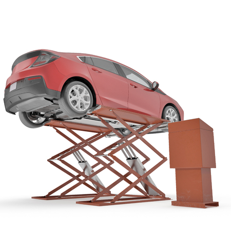 automotive industry: Automotive Scissor Lift and Car on white background. 3D illustration, clipping path