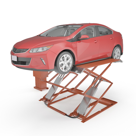 hydraulic lift: Automotive Scissor Lift and Car on white background. 3D illustration, clipping path
