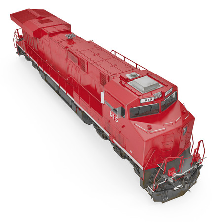 freight train: Diesel-electric locomotive on white background. 3D illustration, clipping path