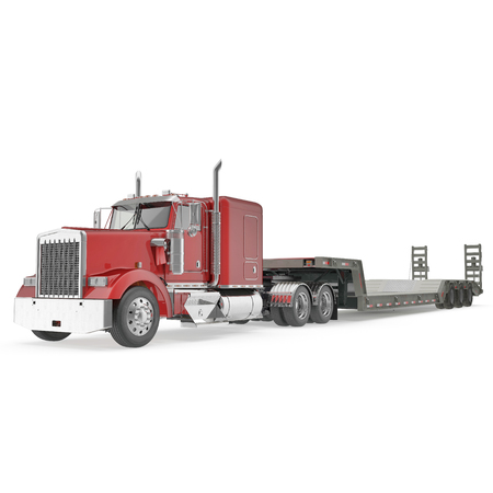 Truck with Double Drop Trailer on white background. 3D illustration, clipping path Фото со стока