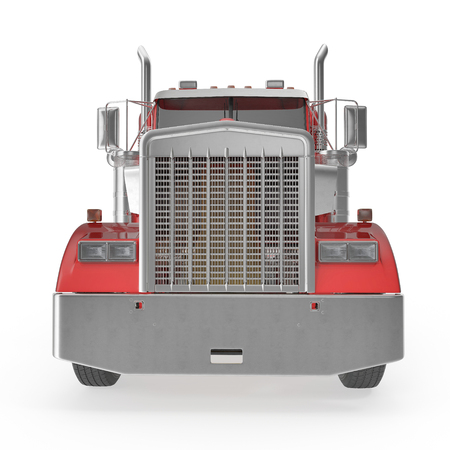 Truck with Double Drop Trailer on white background. 3D illustration, clipping path Stock Photo