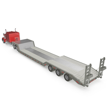 axle: Truck with Double Drop Trailer on white background. 3D illustration, clipping path Stock Photo